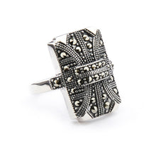 Load image into Gallery viewer, Wellington_&_North_Jewellery_Georgia_Art_Deco_Marcasite_925_Sterling_Silver_Ring_Side_View