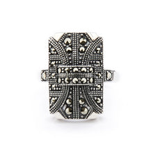 Load image into Gallery viewer, Wellington_&_North_Jewellery_Georgia_Art_Deco_Marcasite_925_Sterling_Silver_Ring_Front_View