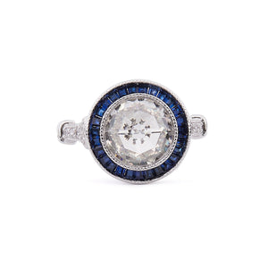 Scarlett: Art Deco Ring in Cubic Zirconia, Synthetic Sapphire and Sterling Silver