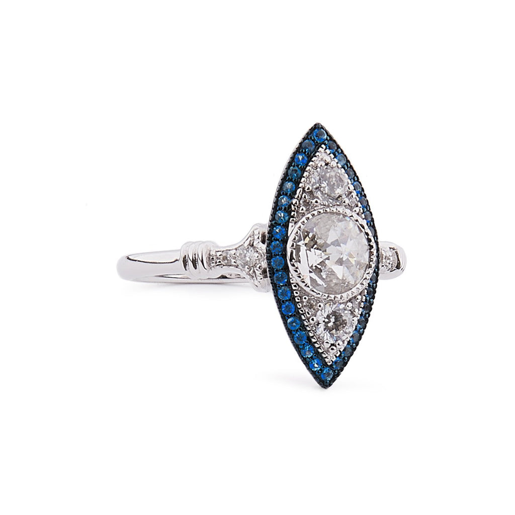 Christabel: Cubic Zirconia, Blue Topaz and Sterling Silver Ring