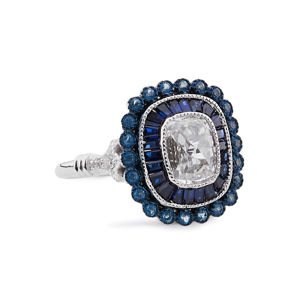 Delilah: Ring in Cubic Zirconia, Blue Topaz, Blue Corundum and Sterling Silver