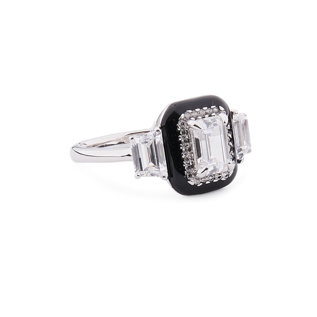 Clara: Art Deco Ring in Cubic Zirconia, Black Enamel and Sterling Silver