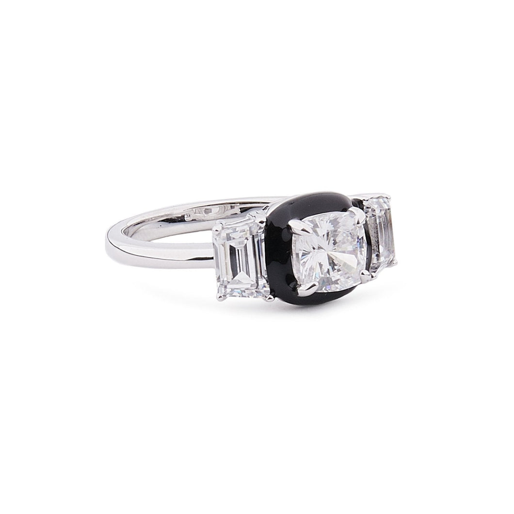 Hedy: Art Deco Ring in Cubic Zirconia, Black Enamel and Sterling Silver