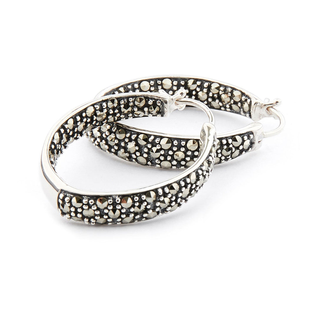 Wellington_&_North_Jewellery_Edie_Art_Deco_Marcasite_925_Sterling_Silver_Hoop_Earrings
