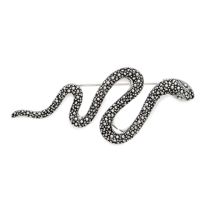 Suzi: Victorian Design Snake Brooch in Marcasite and Sterling Silver