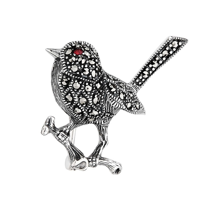Trixie: Art Nouveau Inspired Bird Brooch in Marcasite, Garnet and Sterling Silver