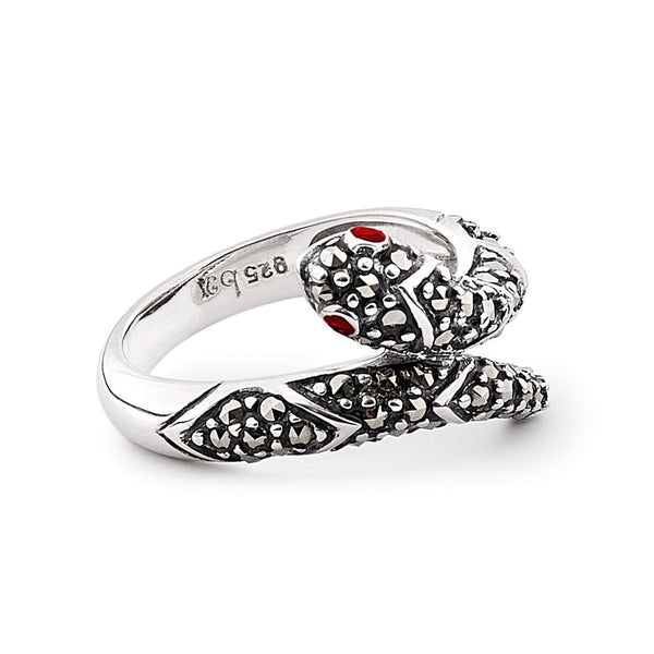 Molly: Marcasite, Garnet and Sterling Silver Snake Ring