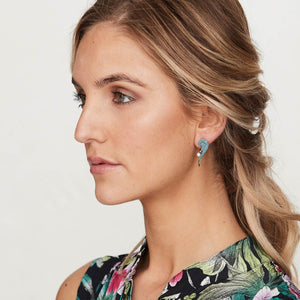 Luna: Turquoise and Rose Gold Earrings
