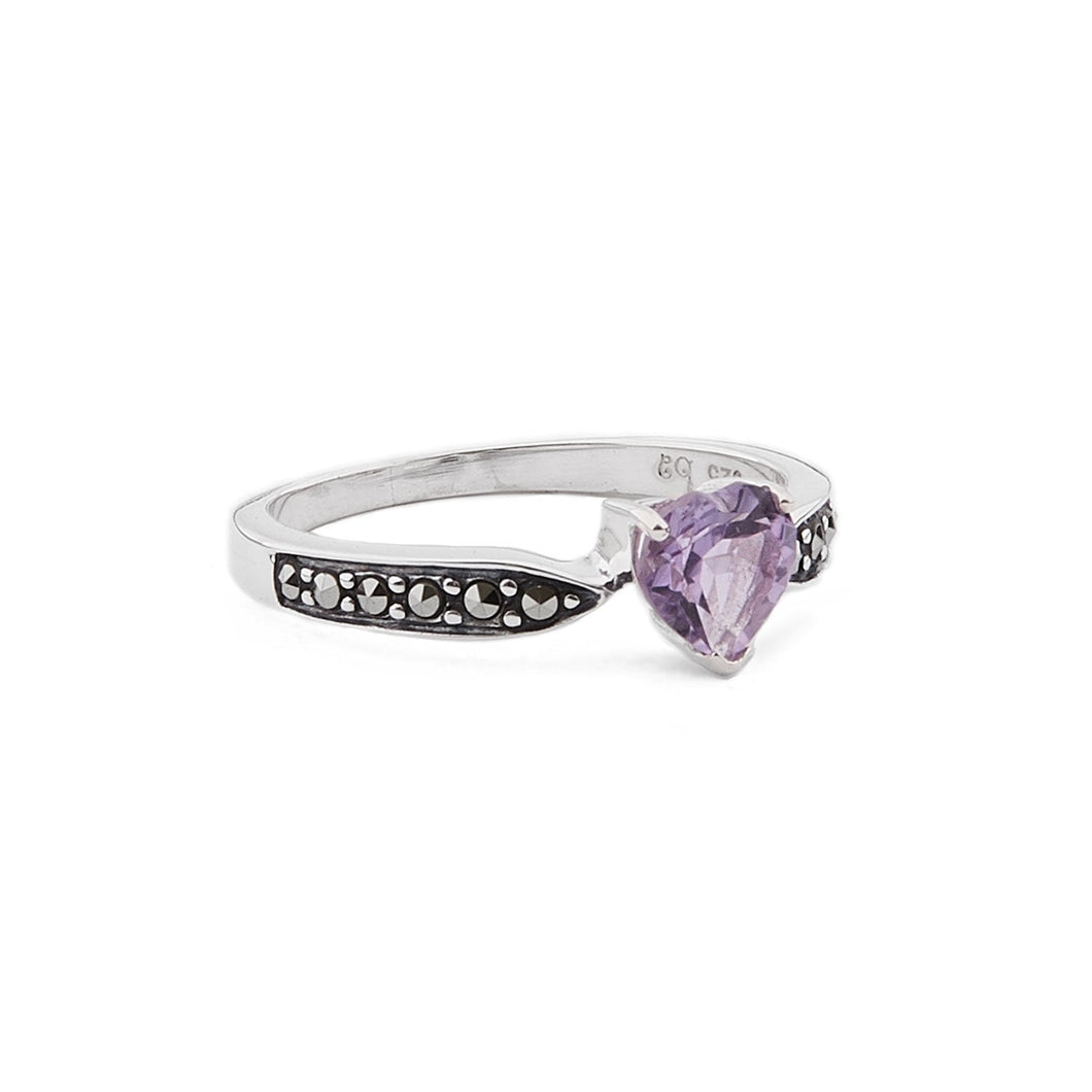 Cressida: Art Deco Heart Ring in Amethyst, Marcasite and Sterling Silver