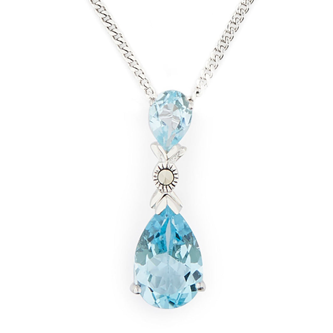 Wellington_&_North_Jewellery_Helena_Art_Deco_Blue_Topaz_Marcasite_925_Sterling_Silver_Pendant_Necklace
