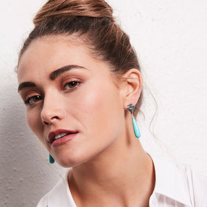 Lucy: Art Deco Drop Earrings in Turquoise, Marcasite and Sterling Silver