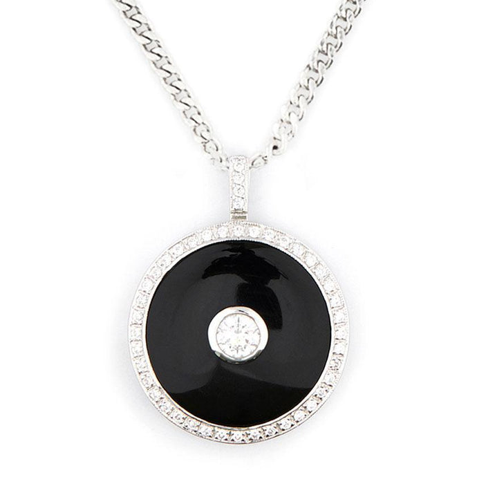 Wellington_&_North_Art_Deco_Jewellery_Marilyn_Cubic_Zirconia_Black_Onyx_925_Sterling_Silver_Round_Pendant
