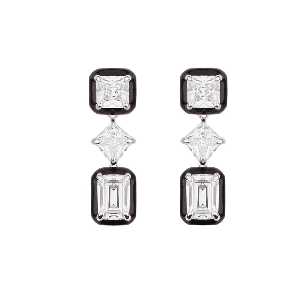 Lana: Cubic Zirconia, Black Enamel and Sterling Silver Drop Earrings