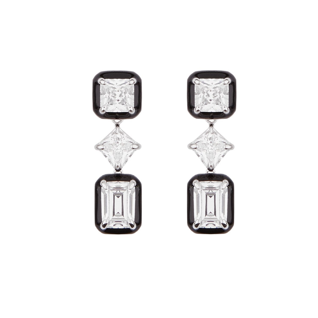 Lana: Art Deco Drop Earrings in Cubic Zirconia, Black Enamel and Sterling Silver