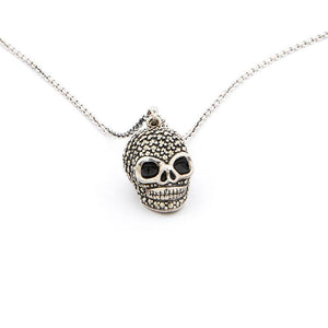 Jett: Skull Pendant Necklace in Marcasite, Enamel and Sterling Silver