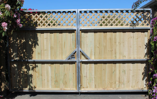 driveway gates built on gavanized gate frames