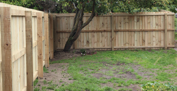 wooden fence frame with posts set in concrete