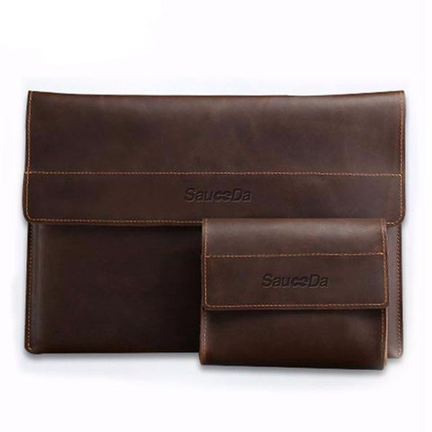 Leather Laptop Sleeve and Charger Case