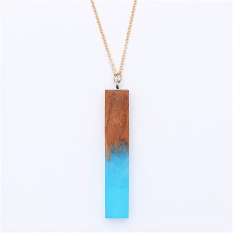 Minimal Handmade Wood and Resin Necklace
