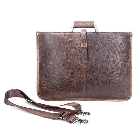 Thin Genuine Leather Briefcase and Laptop Bag