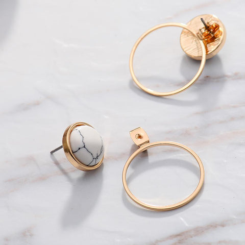 Viennois Gold Color Circles Stud Earrings