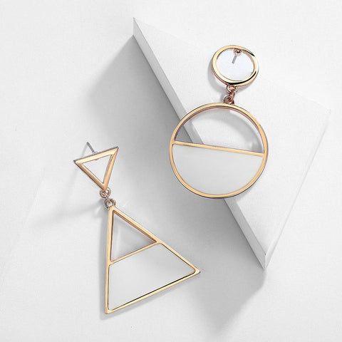 Viennois Rose Gold Geometric Dangle Earrings