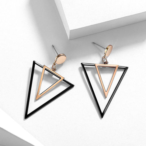 Viennois Rose Gold & Gun Color Triangular Dangle Earrings