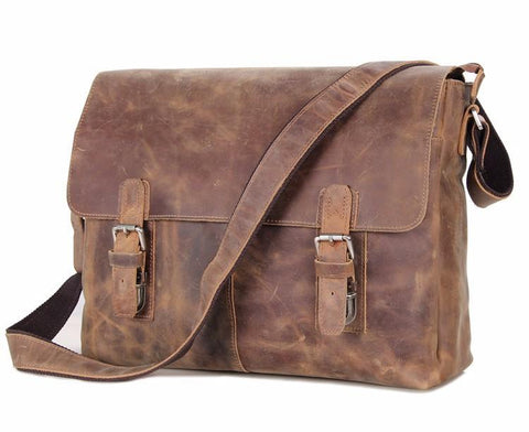 Vintage Matte Leather Messenger Bag