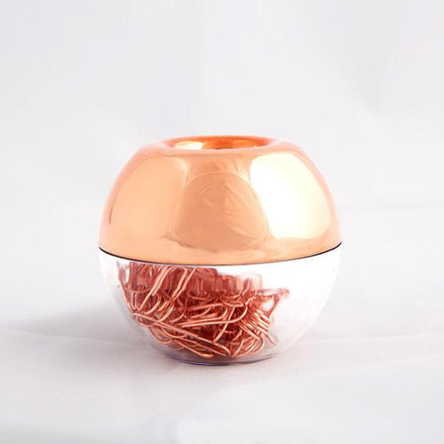 Rose Gold Metal Paper Clip With Magnetic Needle Holder