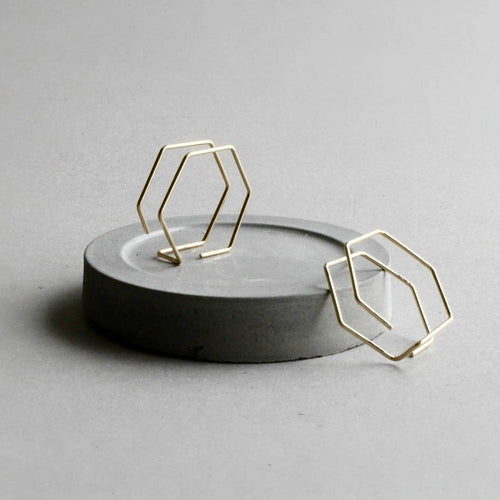 Handmade Minimalist Double Hexagon Earrings, , Gifts for Designers, Clean minimal gifts for designers and creatives, gift, design, designer - Gifts for Designers, Gifts for Architects