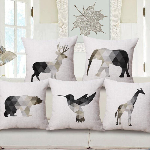 Nordic Geometric Animal Cushion Covers