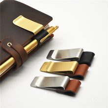 Brass and Leather Pen Clips