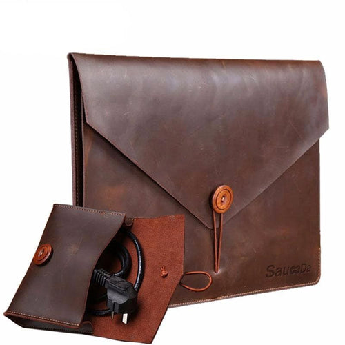 Genuine Leather Laptop Sleeve and Accessory Pouch