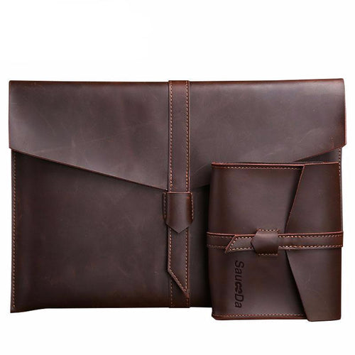 Genuine Leather Laptop Sleeve and Charger Case