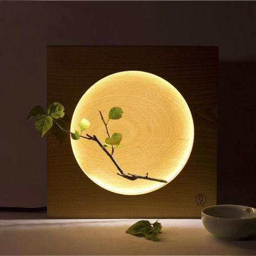 Japanese Full Moon Wood Table Lamp