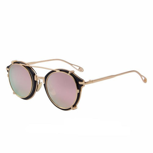 Steampunk Round Sunglasses Flip Separable Lens Mirror, , Gifts for Designers, Clean minimal gifts for designers and creatives, gift, design, designer - Gifts for Designers, Gifts for Architects