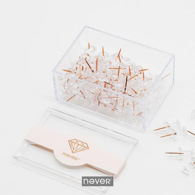 Never Rose Gold Color Push Pins, , Gifts for Designers, Clean minimal gifts for designers and creatives, gift, design, designer - Gifts for Designers, Gifts for Architects