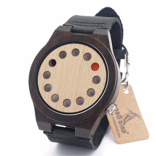 BOBO BIRD 12 Holes Watches Red Black Pointer Bamboo Watch, , Gifts for Designers, Clean minimal gifts for designers and creatives, gift, design, designer - Gifts for Designers, Gifts for Architects