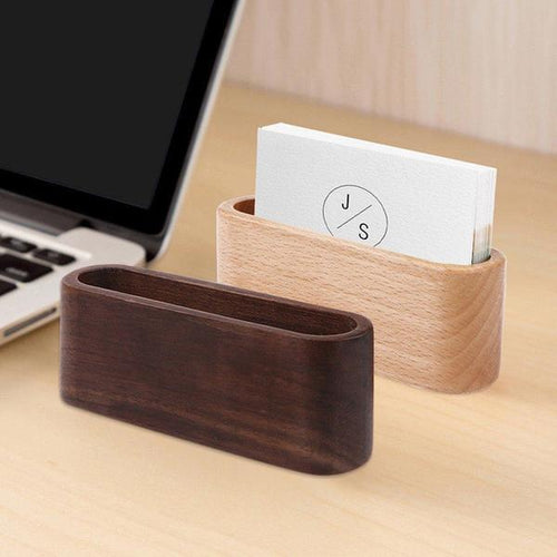 Wooden Desktop Business Card Holder Storage Box, Home Goods, Clean minimal gifts for designers and creatives, gift, design, designer - Gifts for Designers