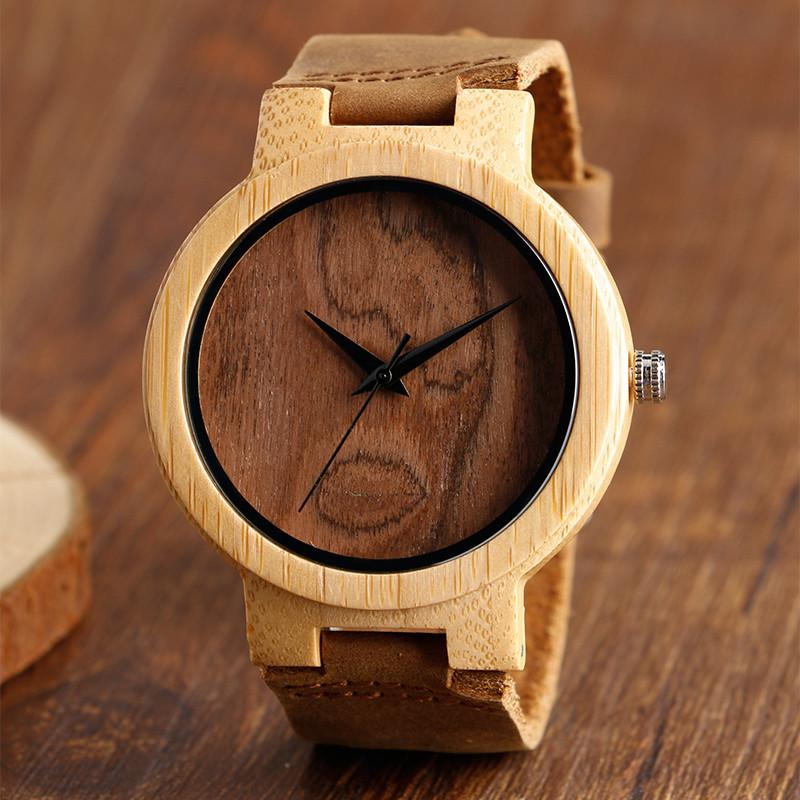 Hand-made Wood Watches with Brown Genuine Leather Band, , Gifts for Designers, Clean minimal gifts for designers and creatives, gift, design, designer - Gifts for Designers, Gifts for Architects