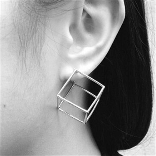 3D Cube Geometric Stud Earrings, , Gifts for Designers, Clean minimal gifts for designers and creatives, gift, design, designer - Gifts for Designers, Gifts for Architects