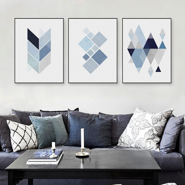 Abstract Blue Geometric Shape Canvas Art, , Gifts for Designers, Clean minimal gifts for designers and creatives, gift, design, designer - Gifts for Designers, Gifts for Architects