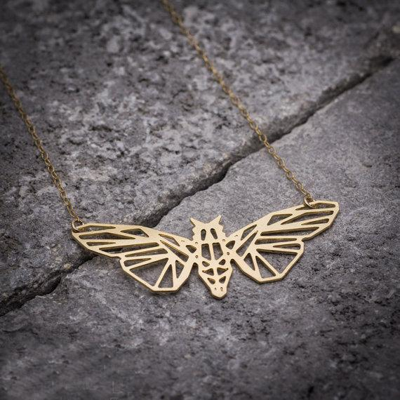 Geometric Moth Necklace, , Gifts for Designers, Clean minimal gifts for designers and creatives, gift, design, designer - Gifts for Designers, Gifts for Architects