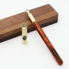 Red Sandalwood and Brass Fountain Pen with Walnut Case, , Gifts for Designers, Clean minimal gifts for designers and creatives, gift, design, designer - Gifts for Designers, Gifts for Architects