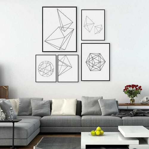 Modern Nordic Minimalist Black White Geometric Shape Wall Art
