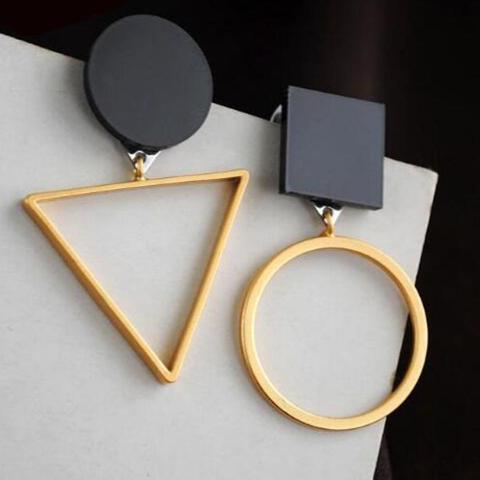 Asymmetric Black Earrings, , Gifts for Designers, Clean minimal gifts for designers and creatives, gift, design, designer - Gifts for Designers, Gifts for Architects