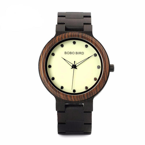 Wood Watch for Men with Luminous Hands