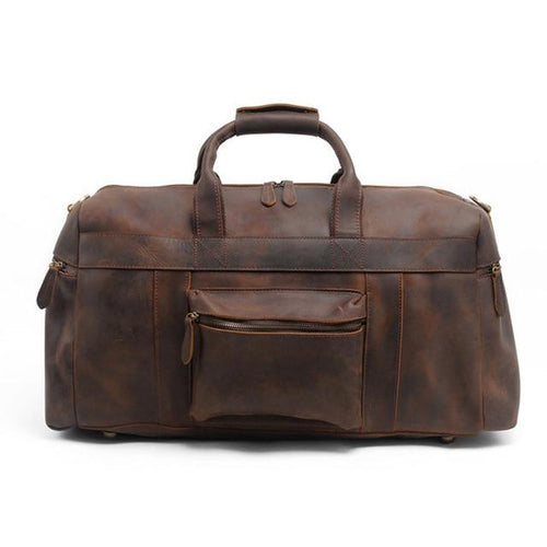 Crazy Horse Genuine Leather Weekend Travel Bag | Leather Weekend Duffel Bag