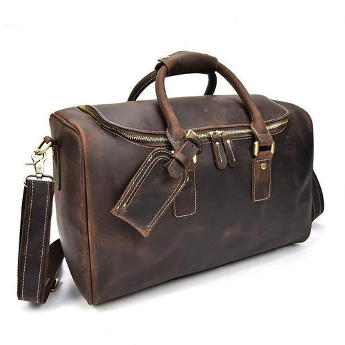 Genuine Leather Overnight Tote Travel Bag