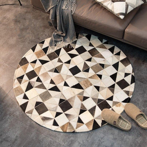Handmade Spotted Triangles Cowhide Rug, , Gifts for Designers, Clean minimal gifts for designers and creatives, gift, design, designer - Gifts for Designers, Gifts for Architects